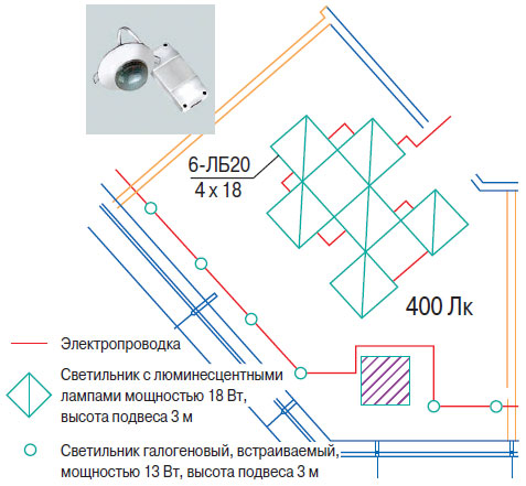 Схема установки датчика присутствия в кабинете