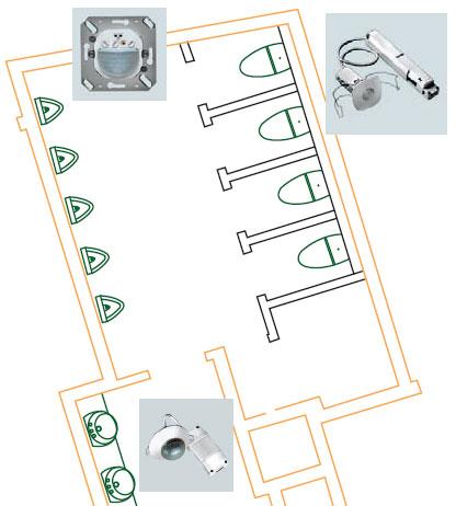 Рисунок 5. Схема оборудования санузлов датчиками движения и присутствия.