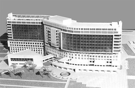 Кардиологичемкий центр в г. Ташкенте (архитекторы: Х. А. Мукольянц, А. Л. Быков; инженеры: Г. Ф. Панков, Ю. И. Беленький)