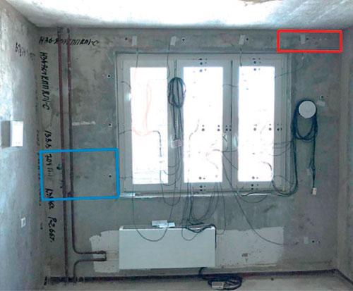 Стена со светопроемом с датчиками теплового потока и температуры